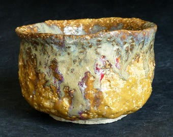 George Watson Chawan Shigaraki type coarse clay Dripping Oil Spot glaze Japanese Style Tea Bowl signed