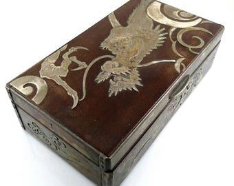 SUPERB Antique Meiji Japan Signed Fine Silver & Wood DRAGON Design Lidded BOX