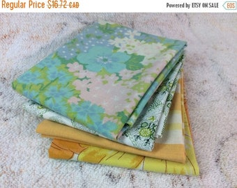 SUMMER SALE Fat Quarters Lot of 4 For Quilting Sewing and Crafting Vintage Bedsheet Fabrics Green Yellow Floral Wabasso