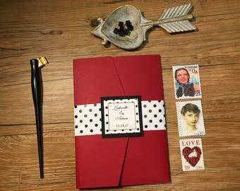 Gabrielle - Retro Wedding Invitation - 50's Theme Wedding Invitation - Custom Wedding Invitation