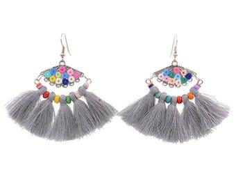 Grey tassel earrings - surgical steel earrings, rainbow colourful unique statement earrings, stainless steel, nickel free, hypoallergenic