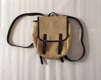 woven vegan backpack / 1990s GAP buckled backpack / coffee brown faux leather woven cotton backpack