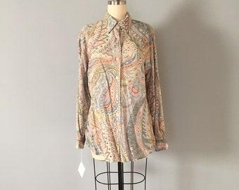 pastel paisley blouse | Liz Caliborne rayon breezy billowy blouse | pastel button down top