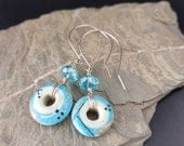 Sterling Silver, Gold and Glass lampwork Earrings - Quirky, Boho, Funky