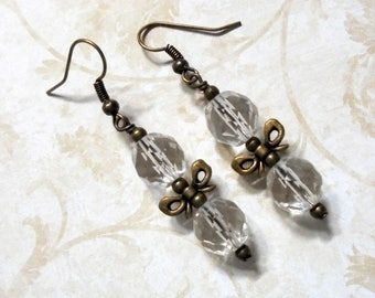 Clear Crystal Earrings with Brass Bows (3776)