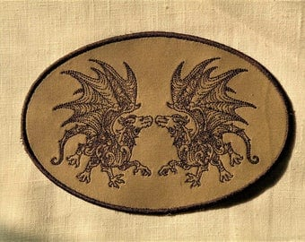 Twin Dragons Iron on Patch 5 x 7 inches