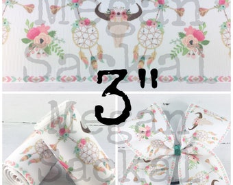 "3yd- 3"" Ribbon, Cheer Bow Ribbon, Bullhead and Dreamcatcher, Floral Gypsy Ribbon"