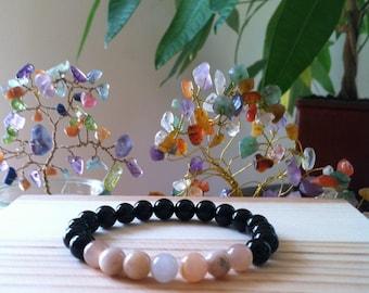 "Handmade Genuine Natural Black Onyx & Moonstone Bracelet, Gemstone Protection Stretch Bracelet, Hormonal, Energy Balance 7"" Reiki Bracelet"