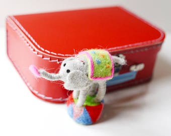 Medium Red Paper Suitcase with Felted Animal