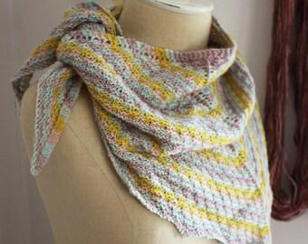 Knitting Pattern / Textured Stripe Striped Shawl Shawlette DIY Tutorial Mini Skeins / Strie / PDF Digital Delivery