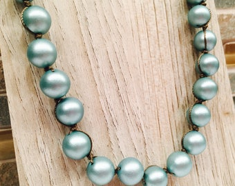 Pearlized Stunning green beaded necklace Knotted Jewelry Bohemian Chic Unique and Elegant Feminine