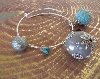 Adjustable Beaded Bangle Bracelet With Powder Blue And Silver Tones