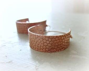 Copper Hoop Earrings, Hoop Earrings, Metalwork Jewelry, Copper Earrings, Modern Hoop Earrings, Pebble Hoop Earrings, Textured Earrings