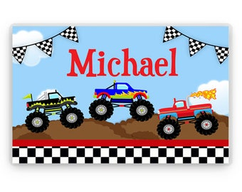 Personalized Truck Placemat, Kids Personalized Place Mat, Monster Truck Personalized Gift, Truck Placemats, Kids Personalized Gifts