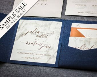 "Invitations with Name Tag, Navy Blue Invitation Suite, Modern Marble Wedding, Copper Wedding Invitations - ""Modern Elegance"" PF-NL SAMPLE"