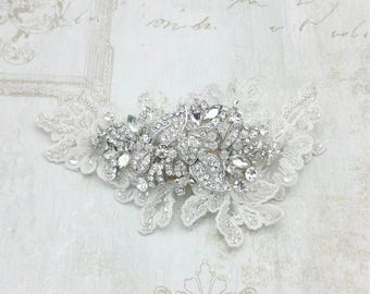Bridal Ivory lace with crystal headpiece