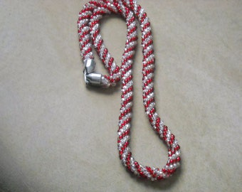 Kumihimo Beaded Red and White Stripe Necklace