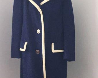 Vintage Lodenfrey wool coat, navy blue wool coat,