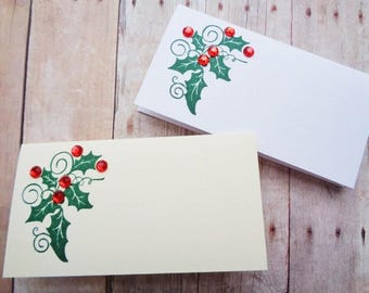 Christmas Holly Place Cards Holiday Table Seating Name Card Set Christmas Wedding Escort Cards