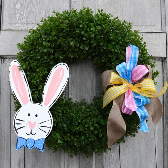 Easter door hanger, Easter Bunny wreath, boxwood spring wreath, bunny wreath, spring door hanger