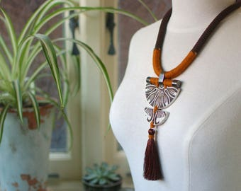 StayGoldMaryRose - Stylish vintage stoneware 'Marbury' statement neck piece on dark cocoa rope.