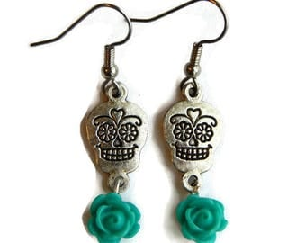 Skull and Teal Rose Earrings - Silver Sugar Skull - Day of the Dead - Dia de los Muertos - Halloween - Rockabilly - Nickel Free