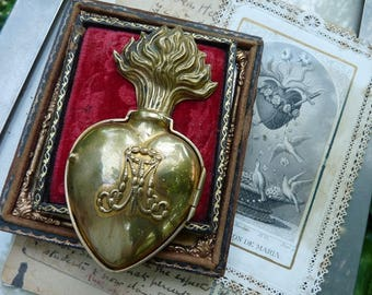 Antique French Flaming Heart Ex Voto, A Marian Talisman for the Passionate, offered by RusticGypsyCreations
