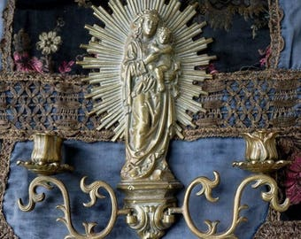 Antique French Virgin Mary Candle Sconce, Talisman for the Passionate Woman, offered by RusticGypsyCreations