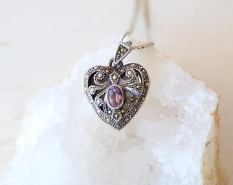 Vintage Sterling Silver Heart Locket with Amethyst Center Store and Tiny Marcasite Stones / Victorian style vintage jewelry