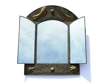 Antique Rustic Hand Forged Metal Hinged Mirror - Doves Birds and Flowers - Shaving Wall Hanging Tri Fold Mirrors - Gray & Gold - Early 1900s