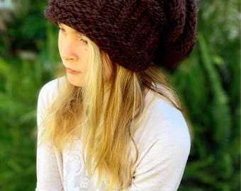 Knit Slouchy Hat - Winter Hat - Knit Hat - One Size Fits All