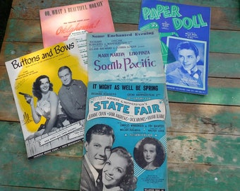 Vintage sheet music-Broadway-Musicals-Bob Hope-Jane Russell-Frank Sinatra-Rogers Hammerstein-Musical music-South Pacific-Broadway Collection