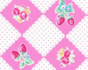 Floral and strawberry diamonds in pink from the Flower Sugar Berry Fall 2017 fabric collection by Lecien of Japan - 31513L-20
