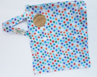 Wet bag, water resistant, cloth diaper bag, swimsuit, beach, baby, Medium, stars, rainbow, blue, boys