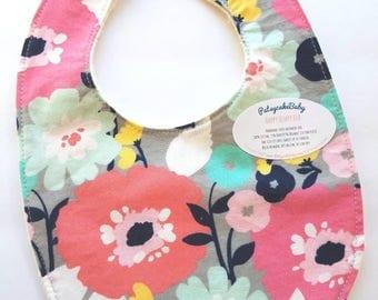 Happy Hempy, organic cotton and hemp fleece backed baby bib, super absorbent, flowers, floral print