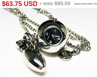 Bowling Ball & Pin Pendant and Chain Watch Necklace - Silvertone Adjustable Necklace Quartz Watch Designer Signed Marc Jacobs