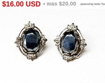 Vintage Hematite Earrings - Clip on Gemstones - Alaska Black Diamond - Genuine Hematite - Petite Vintage Jewelry 1970's 1980's