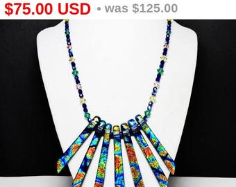 Summer Sizzler Sale Dichroic Bib Necklace with Elongated Fan Bib & Crystal Glass Choker length Chain of Beads - Studio Artist Boutique Je...