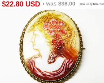 Summer Sizzler Sale Colorful Cameo Brooch - Renaissance Fair Maiden - Roses in Long Hair - Vintage Cameo Pin - Molded Glass