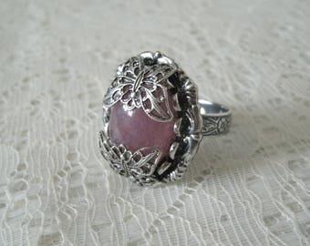 Rose Quartz Butterfly Ring, victorian jewelry art nouveau jewelry art deco jewelry renaissance edwardian neo victorian ring art deco ring