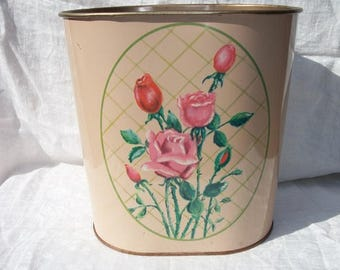 Vintage Beautiful Pink with Brighter Pink Colored Flowers Metal Waste Basket Wastebasket Trash Can Mid Century