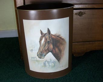 Vintage Beautiful Brown Metal Wastebasket Trash Can Horse Picture Ruane Manning