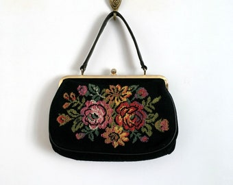 Vintage 50s/60s Black Floral Patterns Tapestry Handbag - 1950s /1960s Tapestry Purse