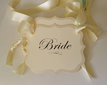 Bride and Groom Wedding Chair Signs for your Head Table Decor in my Elegant Vintage Label Design All of my Colors Available