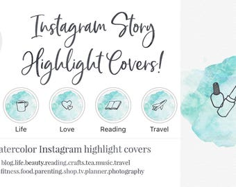 Instagram Story Highlight Cover - Set of 16 - Blue Watercolor - Bookstagram - Lifestyle Bloggers