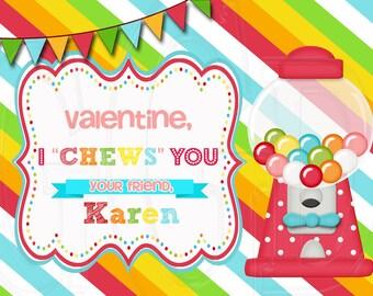 Bubble gum valentine, gumball valentine, gumball machine, printable valentine, gum valentine, bubble gum, Valentine's Card-Digital File