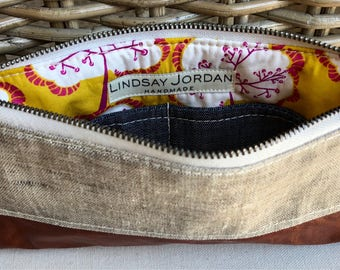 Natural off-white/BEIGE, LINEN & dark brown sheepskin LEATHER  wristlet pouch: blue denim pockets | yellow and pink tree/floral lining