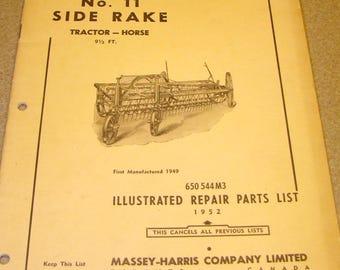 Repair Parts Catalog Massey-Harris No. 11 Side Rake Tractor-Horse 650 544 M3 1952 Farm Equipment