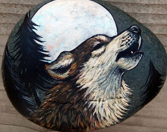 Full MOON hOwLiNg WOLF Spirit Guides Hand Painted Rocks Animal Totem Stones Wolf Medicine Rock Art Forest Animal Gifts Lotus and Nightshade