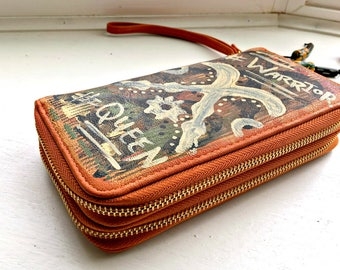 "Tribal Immunity Hand Painted Vegan Leather ""Warrior Queen""  Double Zipper Wristlet Wallet"